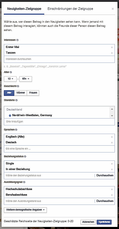 Facebook machts möglich: Seine Zielgruppe kann man sich ganz einfach zusammenstellen. (Screenshot: Nathalie Schlößer)
