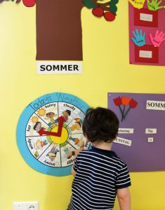 Die Wetteruhr mit englischen Begriffen im 'Mäusenest' wird jeden Tag von den Kindern eingestellt. Foto: Julia Schulte