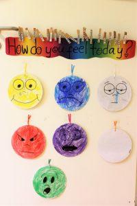 How do you feel today? - Hier können die Kinder jeden Tag ihren Gemütszustand markieren. Foto: Julia Schulte