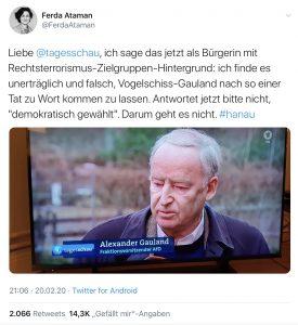 """Dieser Tweet der Twitter-Userin @FerdaAtaman mit mehr als 14.000 """"Gefällt mir""""-Angaben sorgte für viel Diskussion"""