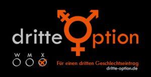 """Logo der Initiative dritte Option, zu sehen sind außerdem drei Kästchen mit m w und d, die man ankreuzen kann, sowie die Beschriftung """"Für einen dritten Geschlechtseintrag"""""""