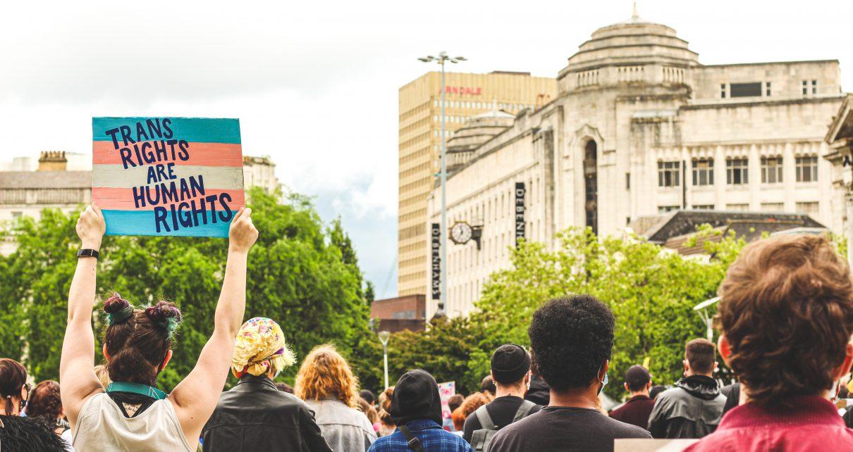 """Foto einer Demonstration für trans* Rechte, eine Person hält ein Plakat mit der trans* Flagge hoch, auf dem die Aufschrift """"trans rights are human rights"""" steht"""